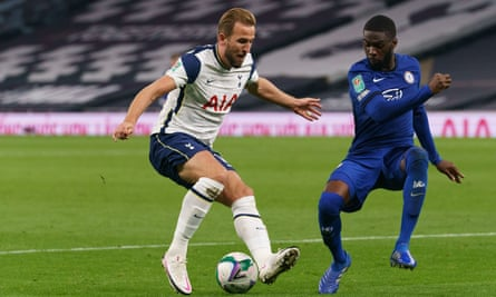 Fikayo Tomori battles with Harry Kane during Chelsea's Carabao Cup match against Tottenham in September