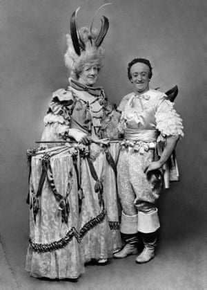 Buttons ( Will Evans) and one of the ugly sisters (Stanley Empire) in Cinderella at the Drury Lane theatre, London, 1919.