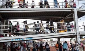 A busy walkway in Luanda.