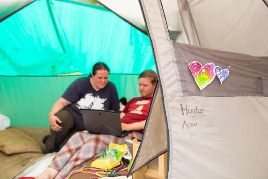 Homeless couples, Hunnie and Alisa. For Outside in America