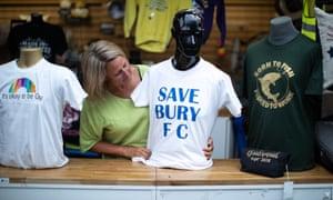 Susan Nicholson with a printed 'Save Bury FC' T-shirt
