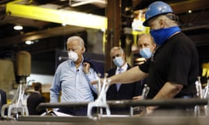 Joe Biden visits a metal fabricating facility in Dunmore, Pennsylvania. The presumptive Democratic nominee believes that building the infrastructure for renewable energy will bring jobs.