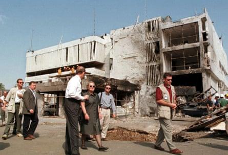 The damaged US embassy in Dar Es Salaam following the terrorist bombing in 1998.