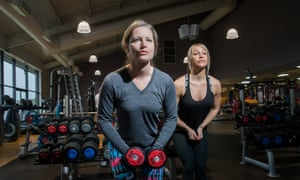Gaby Hinsliff works a pair of dumbbells under Chloe Madeley's instruction