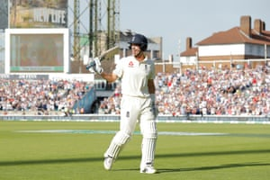 England's Joe Denly waves to he crowd as he leaves the field after getting out just 6 runs short of his maiden Test century.