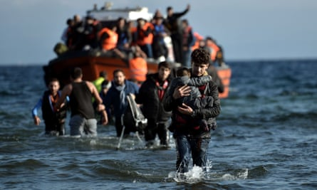 Refugees arriving on the Greek island of Lesbos after crossing the Aegean Sea from Turkey in November 2015.