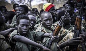 Boys at a disarmament and demobilisation ceremony in Pibor, Jonglei state, South Sudan.