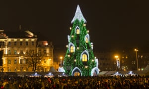 Huge crowds turned out for the lighting of the National Christmas tree in Vilnius, Lithuania