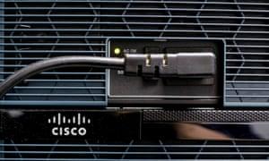 A Cisco logo on a router
