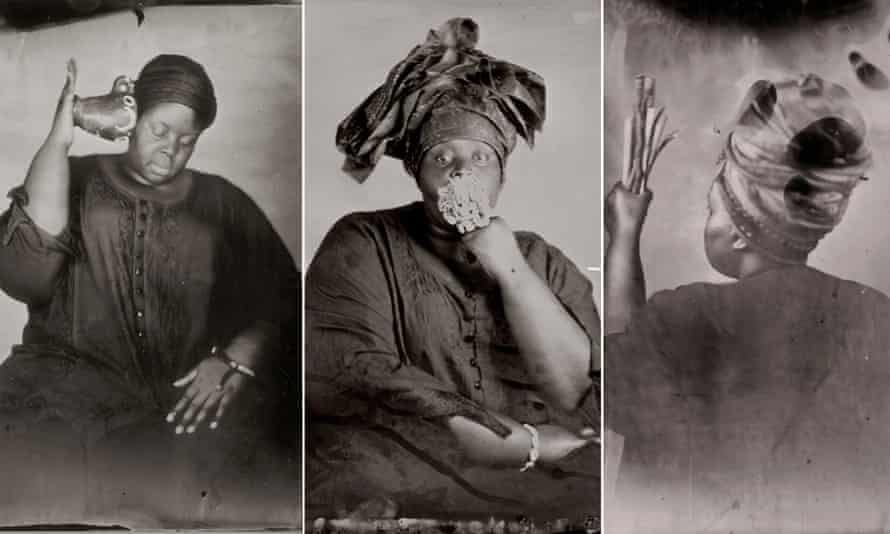 Details from self-portrait images by Khadija Saye from her Venice Biennale series Dwelling: In This Space We Breathe.