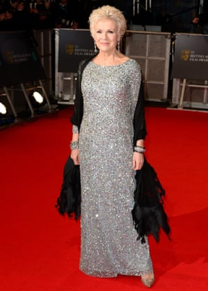 'Now I quite like getting dressed up' … Julie Walters wearing the Adrianna Papell gown, as recommended by the stylist Jillie Murphy, for the 2015 Baftas ceremony in London.