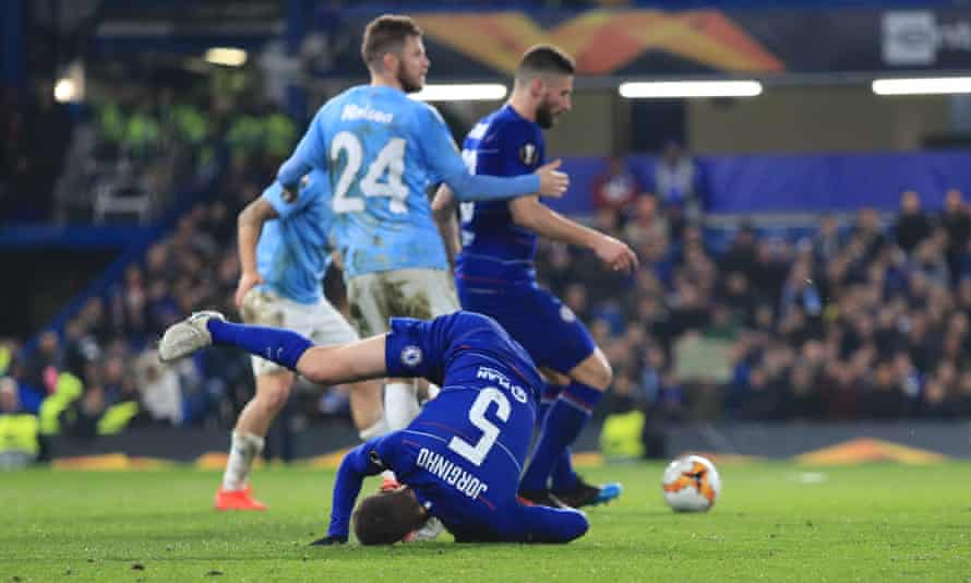 Jorginho takes a tumble against Malmö – the Italian international was booed by the home crowd at Stamford Bridge.