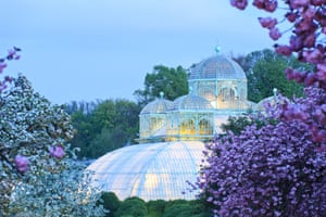 The Royal Greenhouses of Laeken by night. Belgium, Brussels.