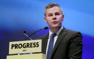 Scotland's finance secretary, Derek Mackay, addresses delegates at the Scottish National party conference at the SEC Centre in Glasgow on Monday.