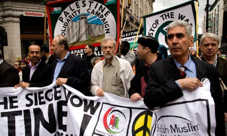 Jeremy Corbyn joins protesters at a Remember Gaza demonstration in central London.