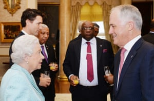 The Queen talking to Malcolm Turnbull at the Commonwealth heads of government meeting (CHOGM) in Malta.