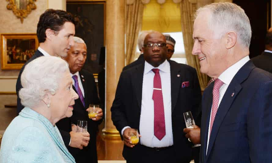 The Queen meets Malcolm Turnbull during a Commonwealth Heads of Government reception at the San Anton Palace in Malta.