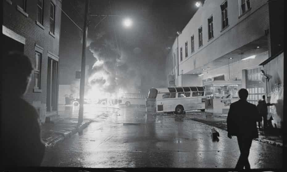 Buses on fire during the Montreal police strike of October 1969.