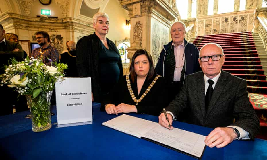 Gerry Carson (right) of the National Union of Journalists with Belfast's lord mayor, Deirdre Hargey.