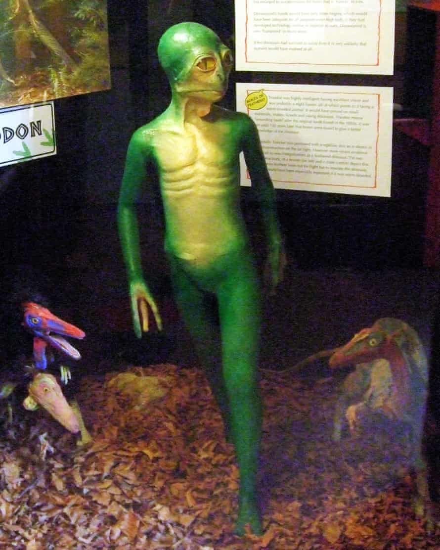 Dinosauroid: An interpretation of Dale Russell's dinosauroid sculpture, from The Dinosaur Museum, Dorchester, Dorset