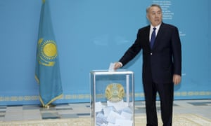 Kazakhstan's leader Nursultan Nazarbayev casts his vote in the presidential election on Sunday on the way to renewing his 26-year grip on power in the Central Asian state. <br>