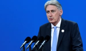 British chancellor Philip Hammond delivers a speech at the Belt and Road Forum in Beijing, China, on Sunday.