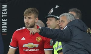 José Mourinho gives instructions to Luke Shaw