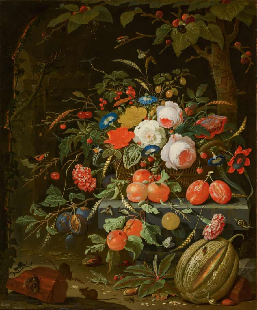Abraham Mignon's Still Life of Flowers and Fruit, c1670.