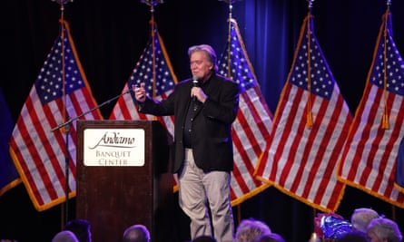 Steve Bannon, former chief strategist to President Donald Trump, speaking at Republican dinner earlier this month. His Breitbart news organisation is accused of spreading anti-Muslim fake news.