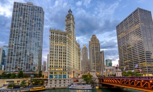'One of the most intriguing towers in the world' … the Tribune Tower, to the right of the Wrigley Building.