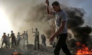 2018年10月,以色列和加沙地带边界的巴勒斯坦抗议者