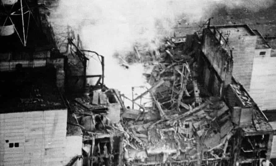 Chernobyl reactor after the explosion, 26 April 1986.