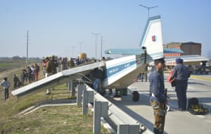 An aircraft after an emergency landing in Ghaziabad, India