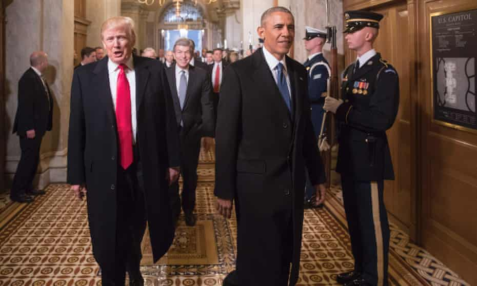 President-elect Donald Trump, left, and President Barack Obama arrive for Trump's inauguration ceremony in Washington DC, in January.
