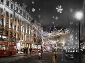 Crystal snowflakes and stars made of aluminium hang in Regent Street on 30 November 1955. Christmas shoppers walk past the same spot on 23 November 2017