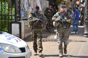 Soldiers on patrol in nice on polling day.