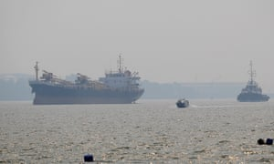 Ships in a hazy harbour