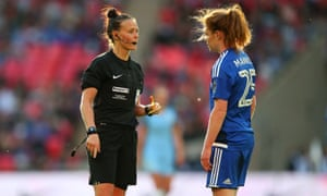 Rebecca Welch talks to Birmingham City's Aoife Mannion during the 2017 FA Cup final.