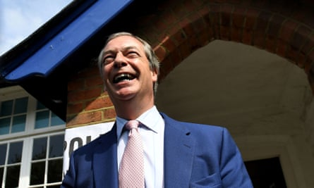 Nigel Farage voting in the European parliament elections on Thursday.