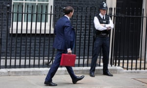 George Osborne holding red budget box
