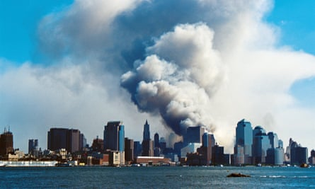 September 11 World Trade Center Attacks<br>08 September 11, 2001 (9/11) Terrorist attack on the Twin Towers of the World Trade Center, New York. Photo taken from New Jersey. Smoke hangs over South Manhattan after the Twin Towers have collapsed. Photo credit: Paul Turner.