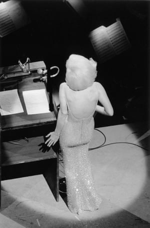 "Marilyn Monroe singing ""Happy Birthday"" to President John F. Kennedy from the stage at Madison Square Garden, three months before her death, 1962"