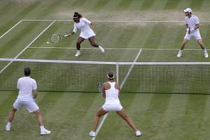 Serena Williams and Andy Murray, top, in action against Nicole Melichar Bruno Soares.