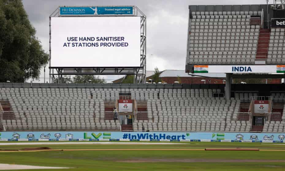 Empty stands at Old Trafford after the fifth Test between England and India was cancelled