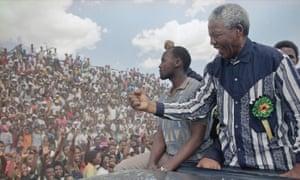 Nelson Mandela campaigning at Galeshewe Stadium in Kimberley, South Africa, 25 February 1994.