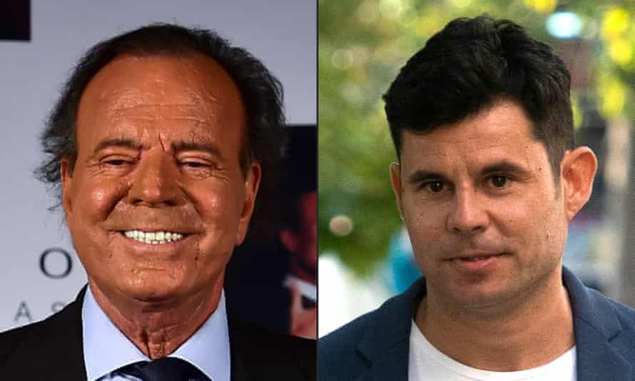 Julio Iglesias (left) in 2015 and Javier Sanchez Santos in 2019.