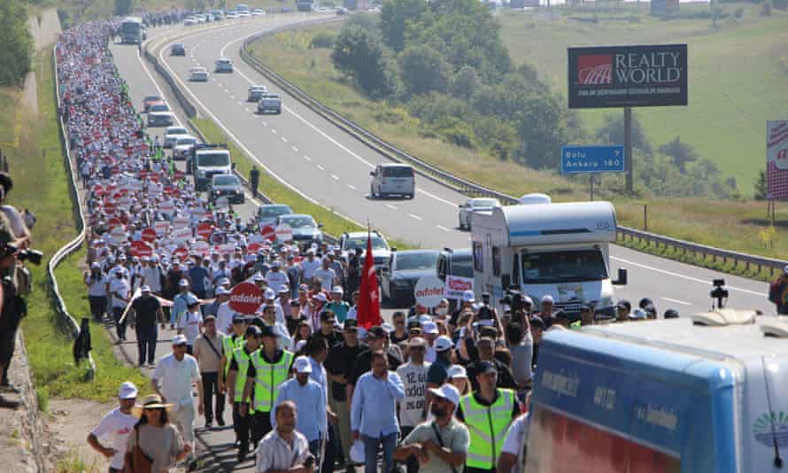 Thousands of people take part in the 'Justice March' in Turkey