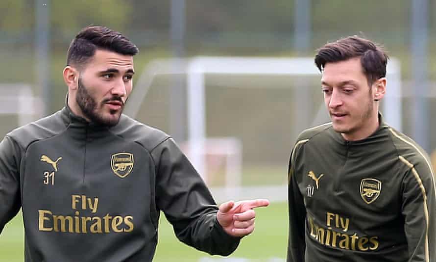 Arsenal pair Sead Kolašinac and Mesut Özil during a training session