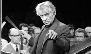 Leonard Bernstein conducting rehearsals at London's Royal Albert Hall, for the Igor Stravinsky Memorial Concert.