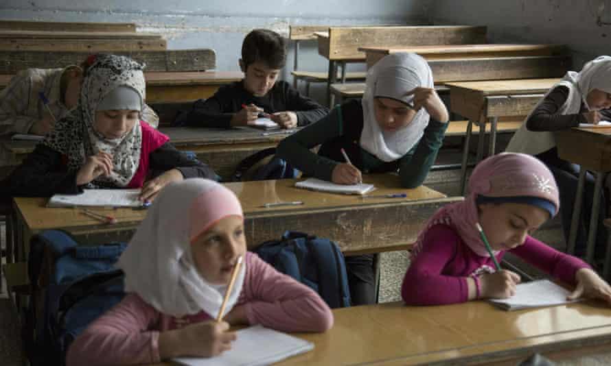 Children at a primary school in Aleppo